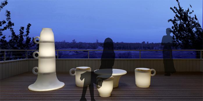 连志明&王珂作品《大杯子——户外发光坐凳》