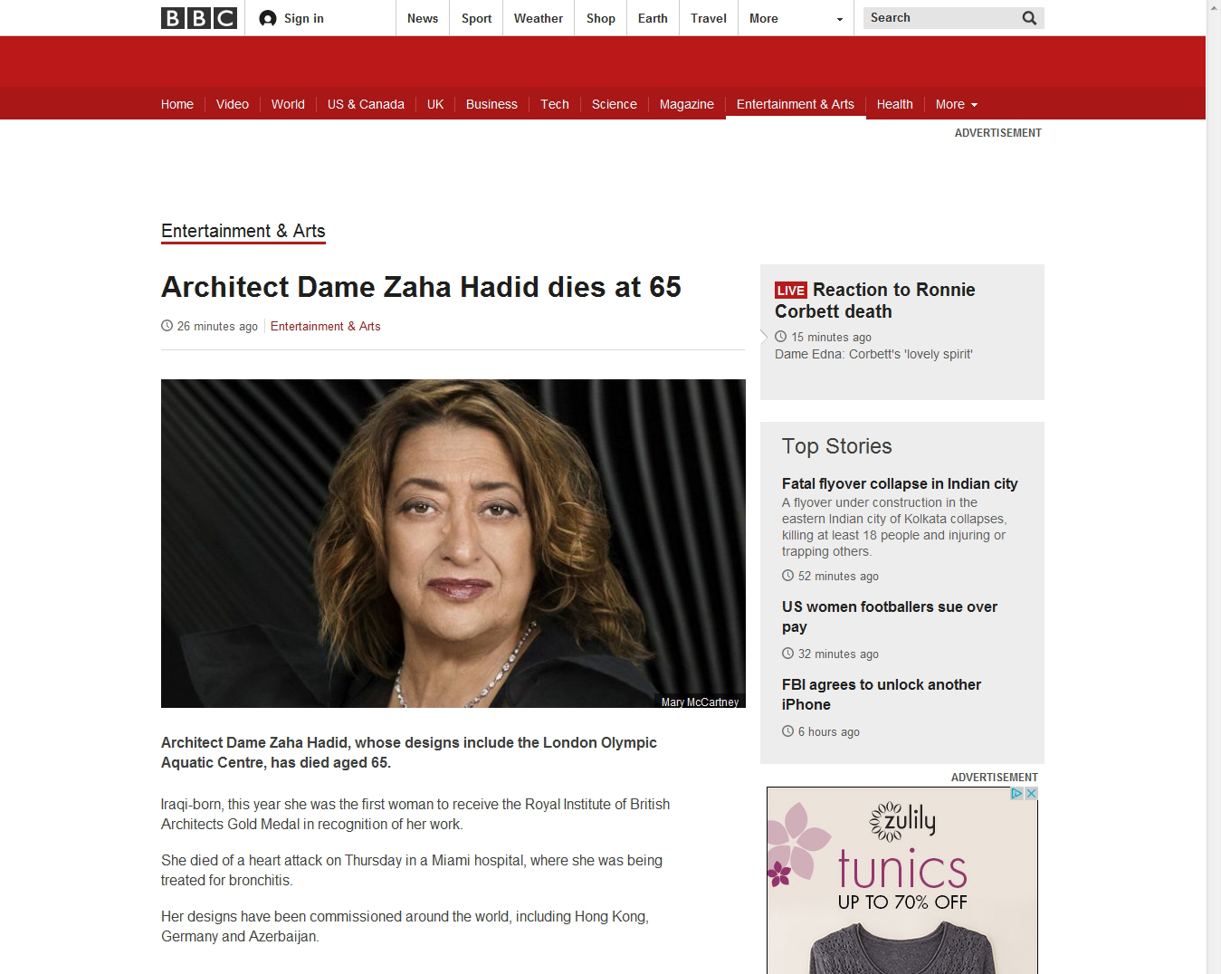 Architect Dame Zaha Hadid dies at 65 - BBC News