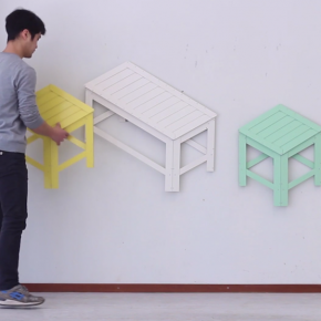 把小凳子挂起来,这个韩国设计师的创意不错!