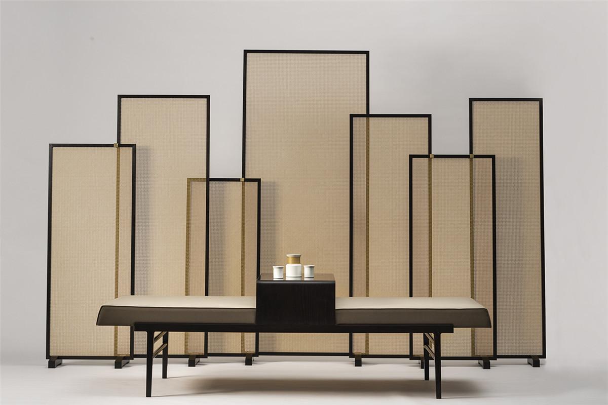 Bamboo Block Geometry Screen+ Luohan Bed