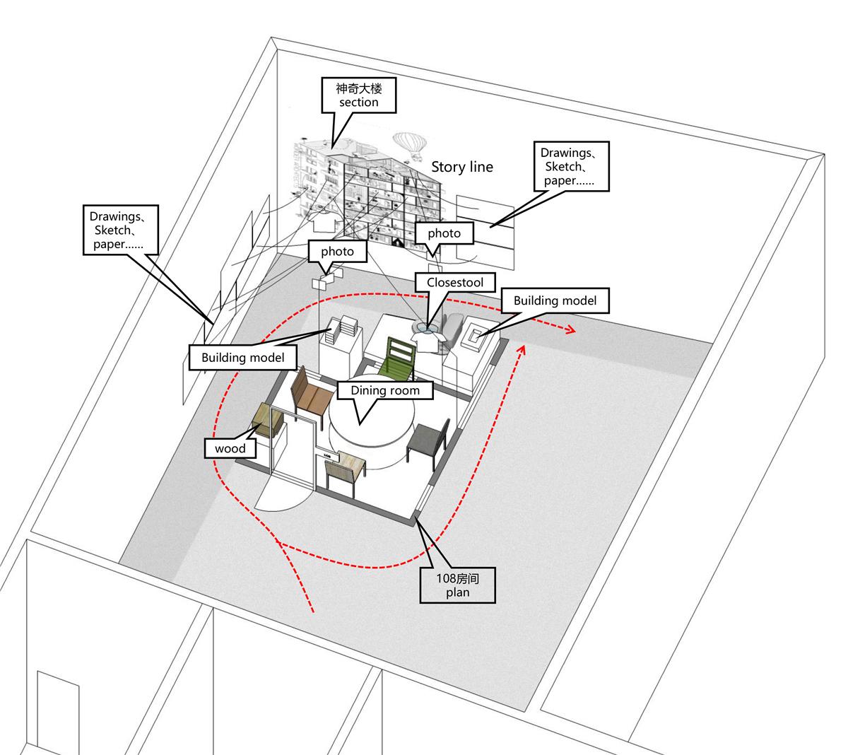 《神奇大楼增1门108号》,复合材料,3600 × 4300 × 5500 mm,2017,由神奇建筑研究室成员:朱起鹏、王冲、王斯迪、袁樱子共同完成