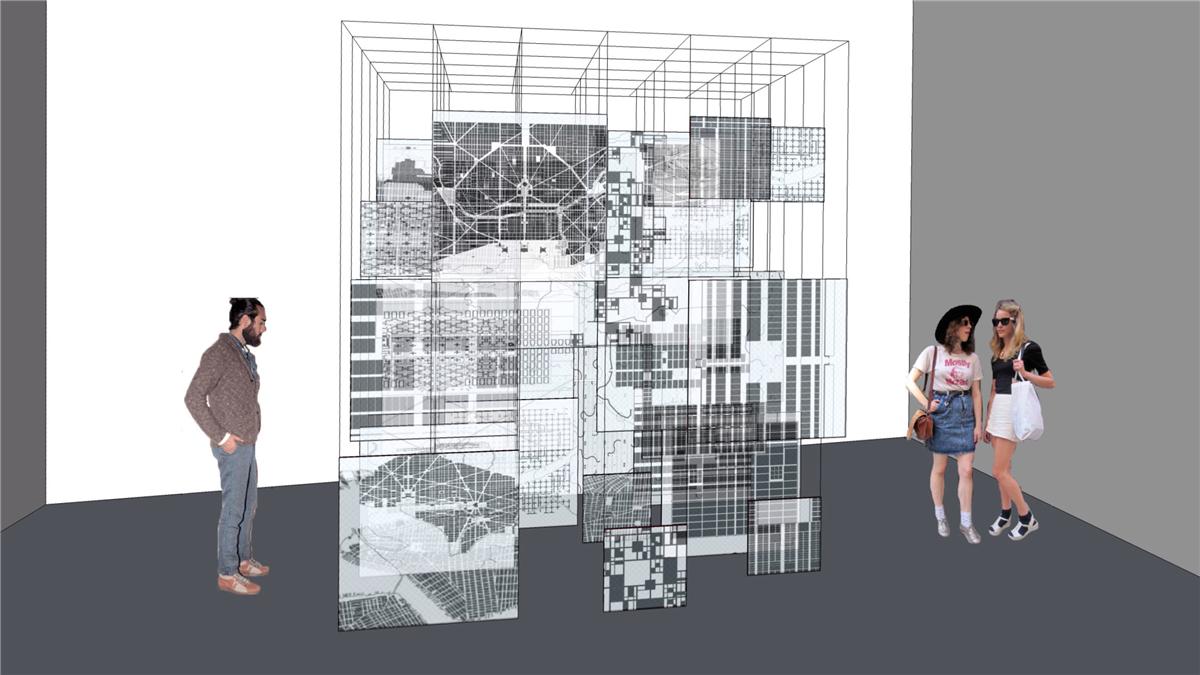 《网格进化》(Framework Evolved),文献装置,亚克力、数字打印、铁架,2017