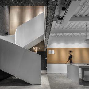 这家办公室竟然很少能看见棱角,连楼梯都是曲形的