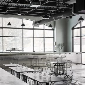 看这家酿酒厂里的酒吧,把极简工业风玩到了极致