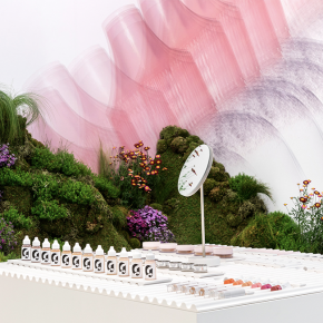 化妝品快閃店的室內竟然滿是植物覆蓋的土堆!